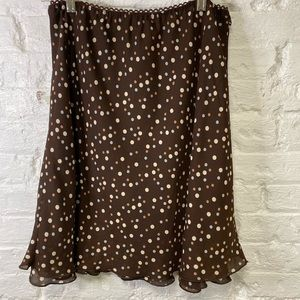 Large Pantology Brown Skirt with Polka Dots